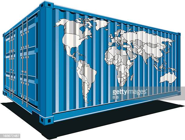 cargo containers-world - rail freight stock illustrations, clip art, cartoons, & icons