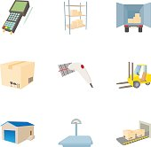 Cargo icons set, cartoon style