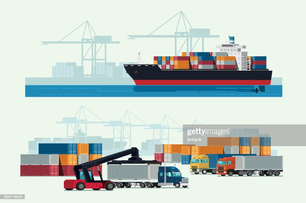 Cargo logistics truck and transportation container ship with working crane import export transport industry. illustration vector