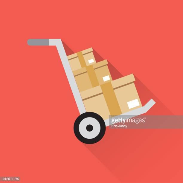 ilustrações, clipart, desenhos animados e ícones de carga pacote de ícone plana - embalagem cartonada