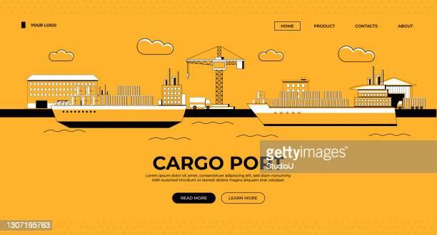 貨物港 web バナーイラスト - 荷積み場点のイラスト素材/クリップアート素材/マンガ素材/アイコン素材