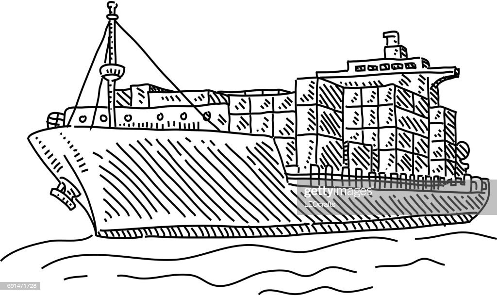 Cargo Ship Drawing High Res Vector Graphic Getty Images