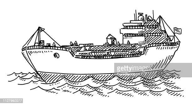 Cargo Schiff Transport Ozean Zeichnung