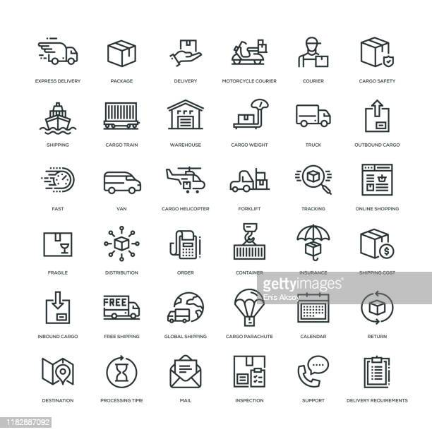cargo, shipping and delivery icon set - courier stock illustrations