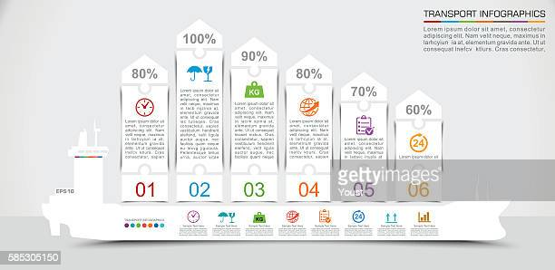 Cargo Shipping Infographics in Paper Flat Style