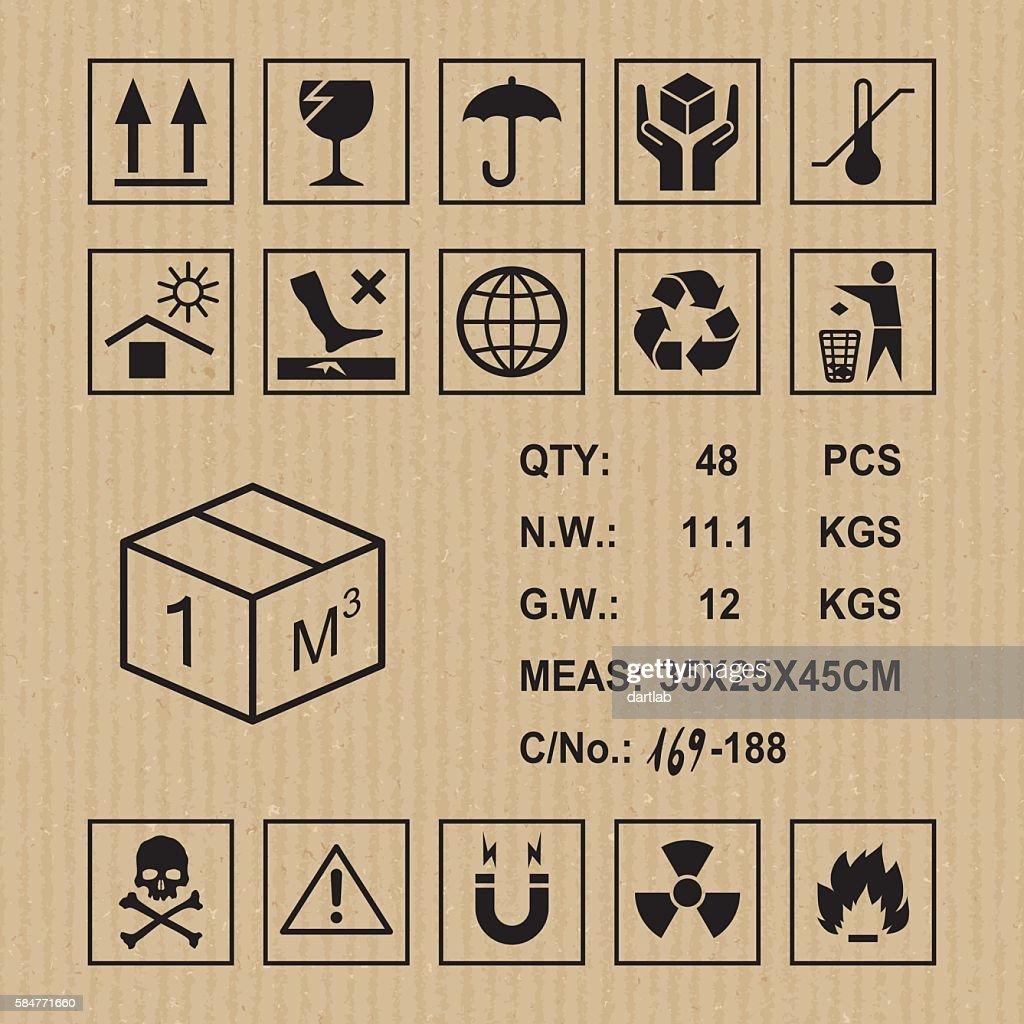 Cargo symbols on cardboard texture