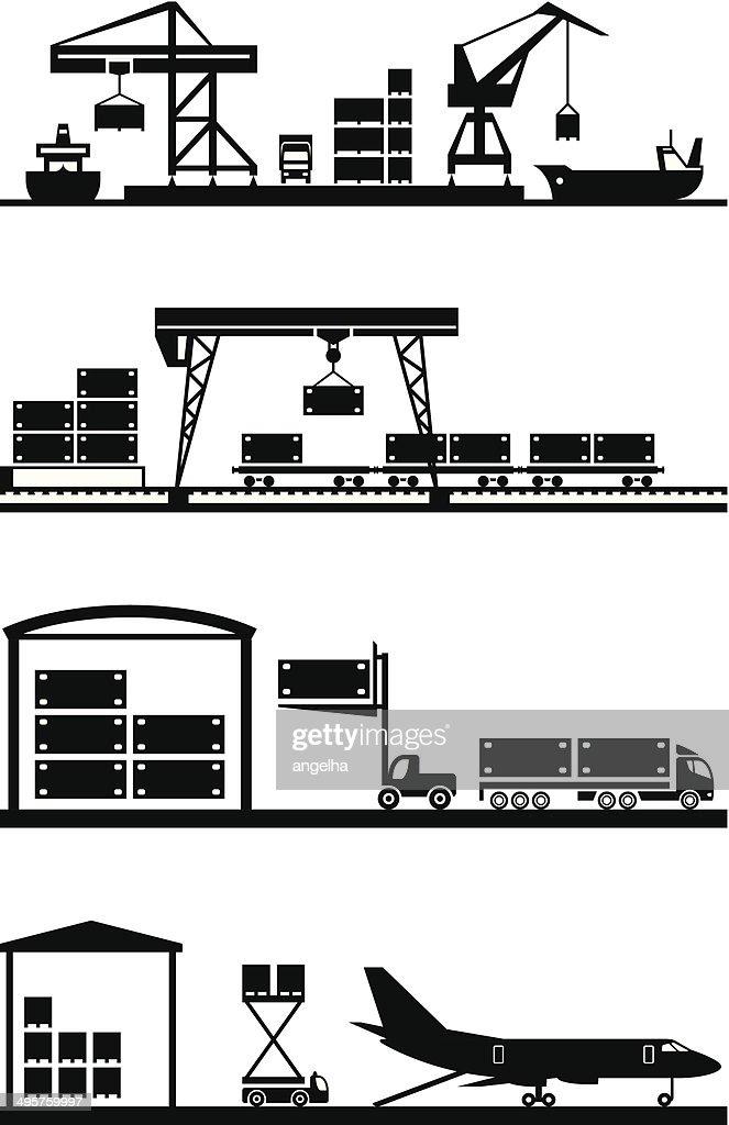 Cargo terminals icon set