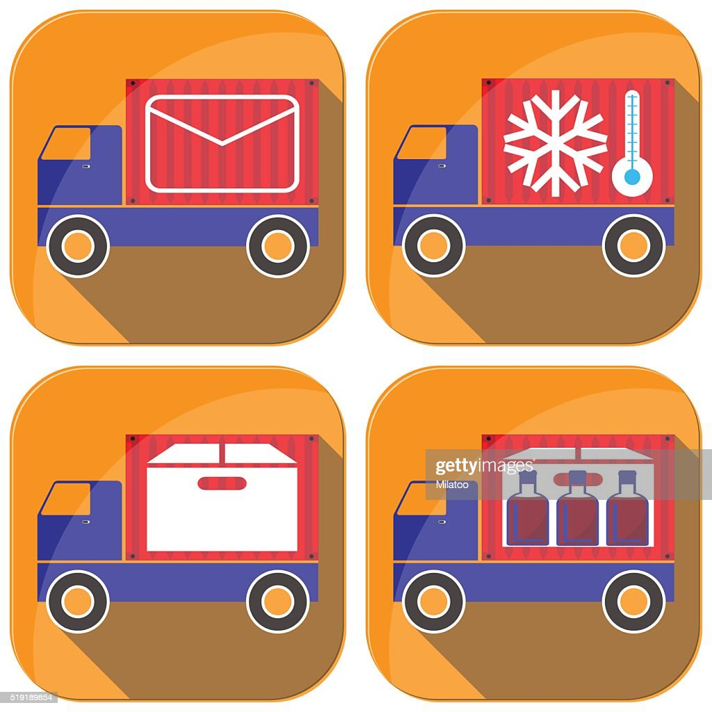 Cargo transportation by road icons and illustration.