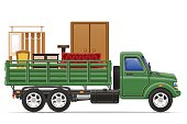 cargo truck delivery and transportation of furniture concept vec