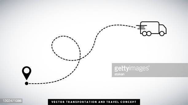 cargo truck line path vector design. transportation and travel concept. - following stock illustrations