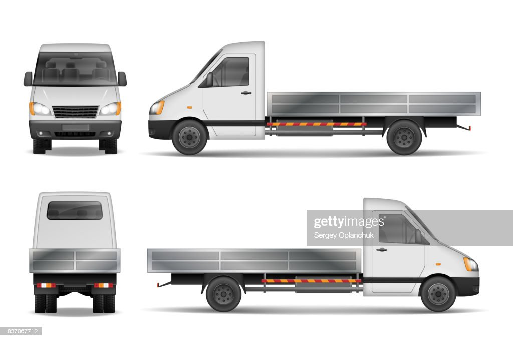 Cargo van vector illustration isolated on white. City commercial lorry. delivery vehicle mockup from side, front and rear view. Vector illustration