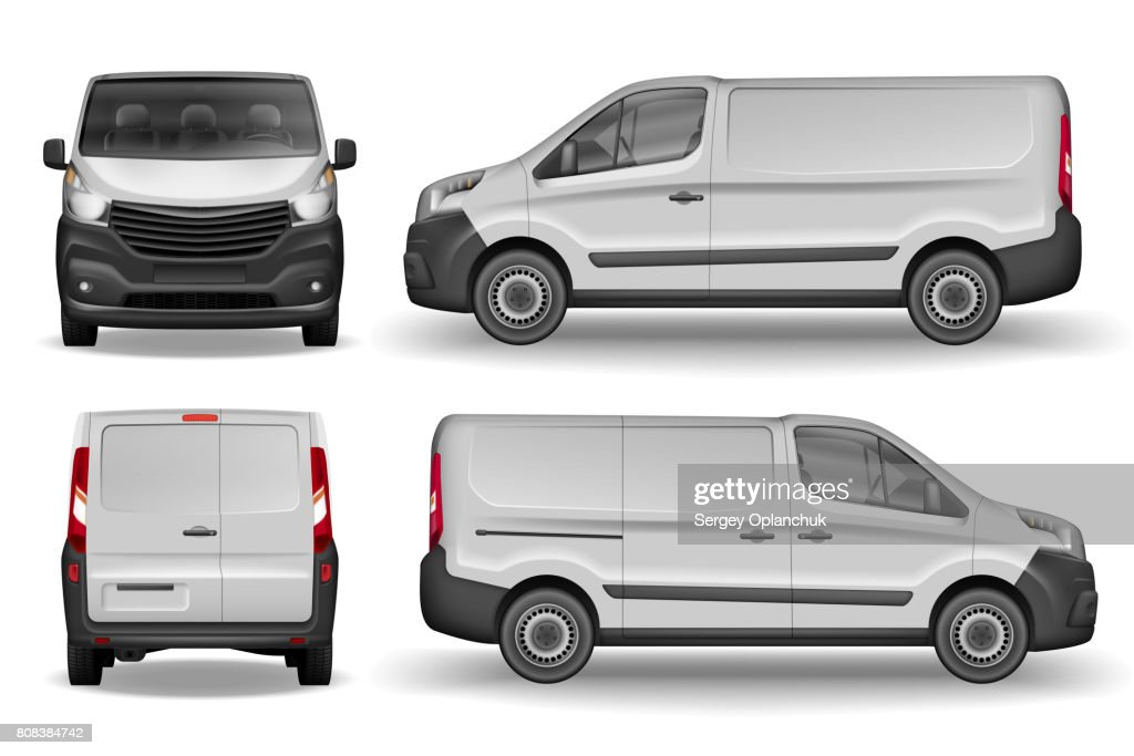 Cargo vehicle front, side and rear view. Silver delivery mini van isolated. Delivery Van Mockup for Advertising and Corporate transport. Vector illustration of Realistic car