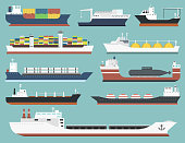 Cargo vessels and tankers shipping delivery bulk carrier train freight boat tankers isolated on background vector illustration