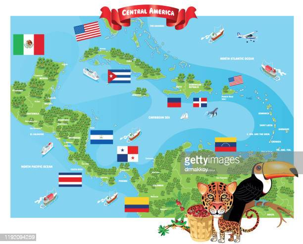 caribbean country and central america country - dominica stock illustrations