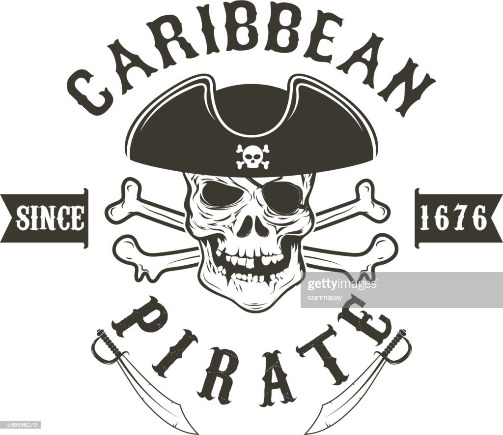 Caribbean pirate.  Pirate skull in admiral headdress and swords.
