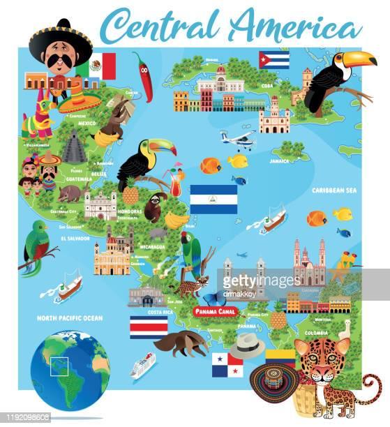 karibik-reisen, kingston, san salvador, port-au prinz, santo domingo, san jose', panama city, guatemala-stadt, tegucigalpa, belmopan, managua, havanna, mexiko-stadt, nassau, san juan - sombrero stock-grafiken, -clipart, -cartoons und -symbole