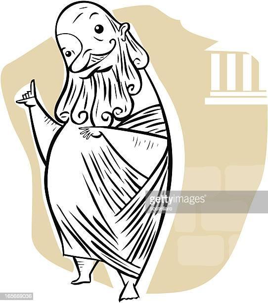 caricatura de sócrates - philosopher stock illustrations