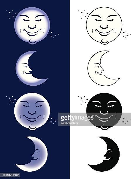 caricature of moon phases in white and navy background - man in the moon stock illustrations, clip art, cartoons, & icons