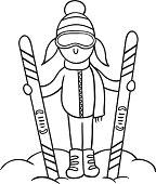 Caricature skier