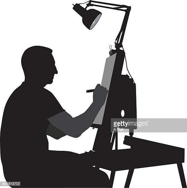 Caricaturist Vector Silhouette