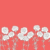 Carnation flower graphic red color seamless background sketch illustration vector