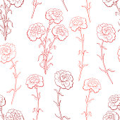 Carnation flower graphic red color seamless pattern sketch illustration vector