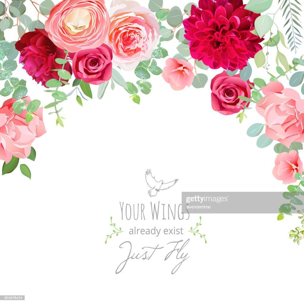 Carnation, rose, ranunculus, dahlia, pink and burgundy red flowe