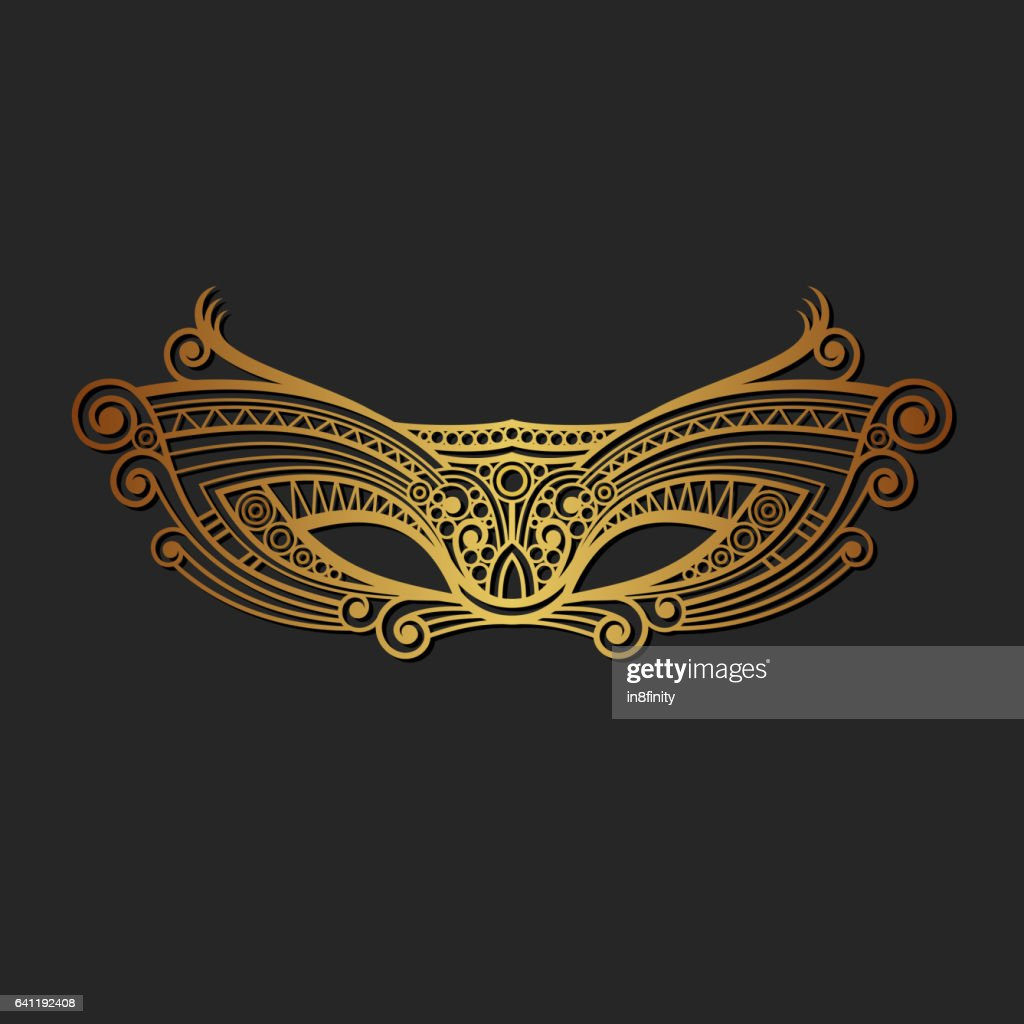 Carnaval Mardi Gras Gold Mask. Vector