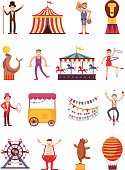 Carnival and circus cartoon fun characters. Fair carousel and amusement park elements vector collection