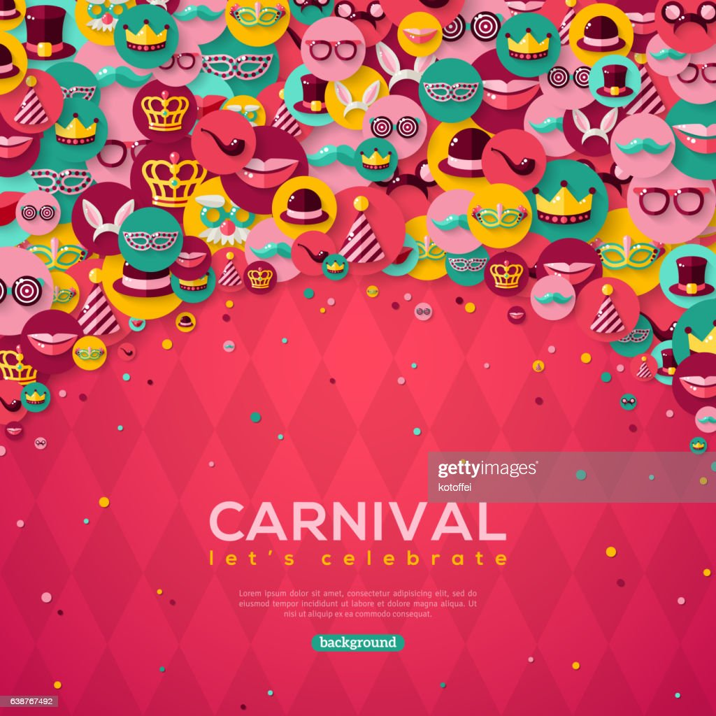 Carnival Banner With Flat Icons in Circles