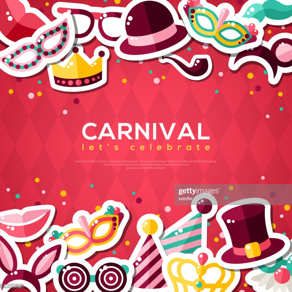 Carnival Banner With Flat Sticker Icons