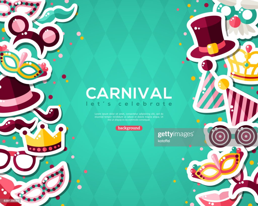 Carnival Banner With Stickers on Blue Background.