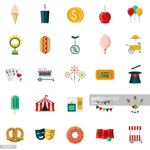 carnival & circus flat design icon set - dipping stock illustrations, clip art, cartoons, & icons
