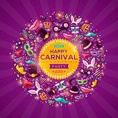 Carnival Concept Banner on shiny purple background