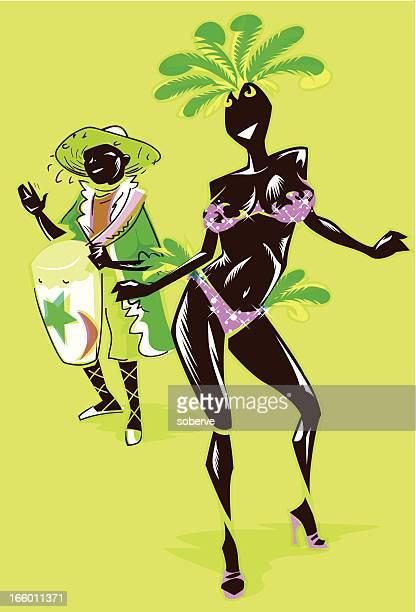 illustrazioni stock, clip art, cartoni animati e icone di tendenza di carnevale ballerina - samba