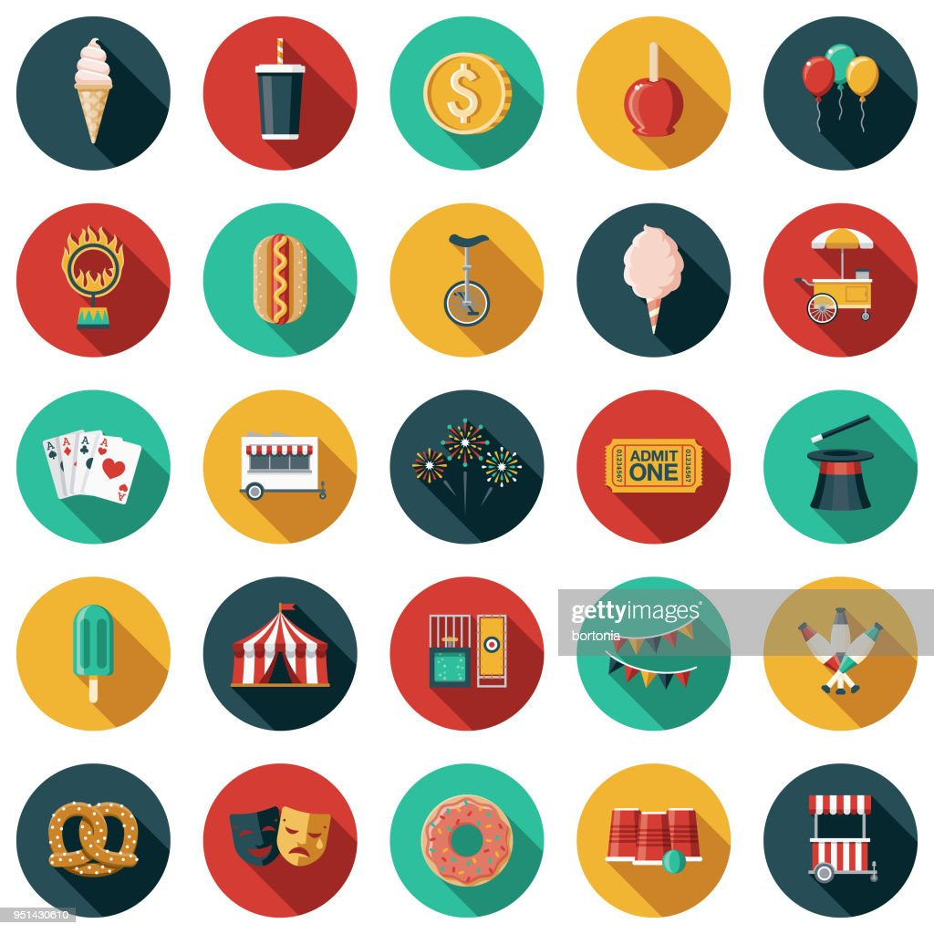 Carnival Flat Design Icon Set with Side Shadow