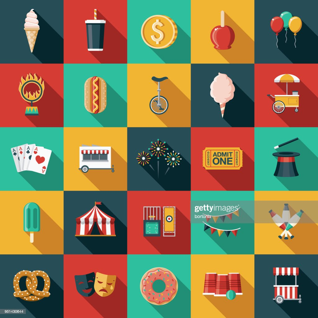 Carnival Flat Design Icon Set with Side Shadow : stock illustration