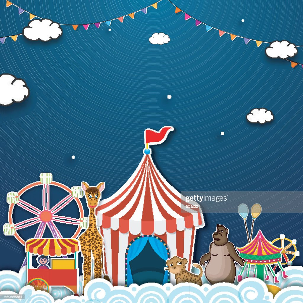 Carnival Funfair background with illustration of colorful rides, tent, balloons and other elements, Can be used as poster, banner, flyer or template design.