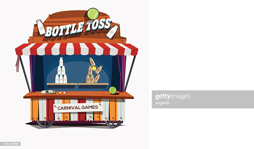 carnival game. Milk Bottle Toss - vector illustration