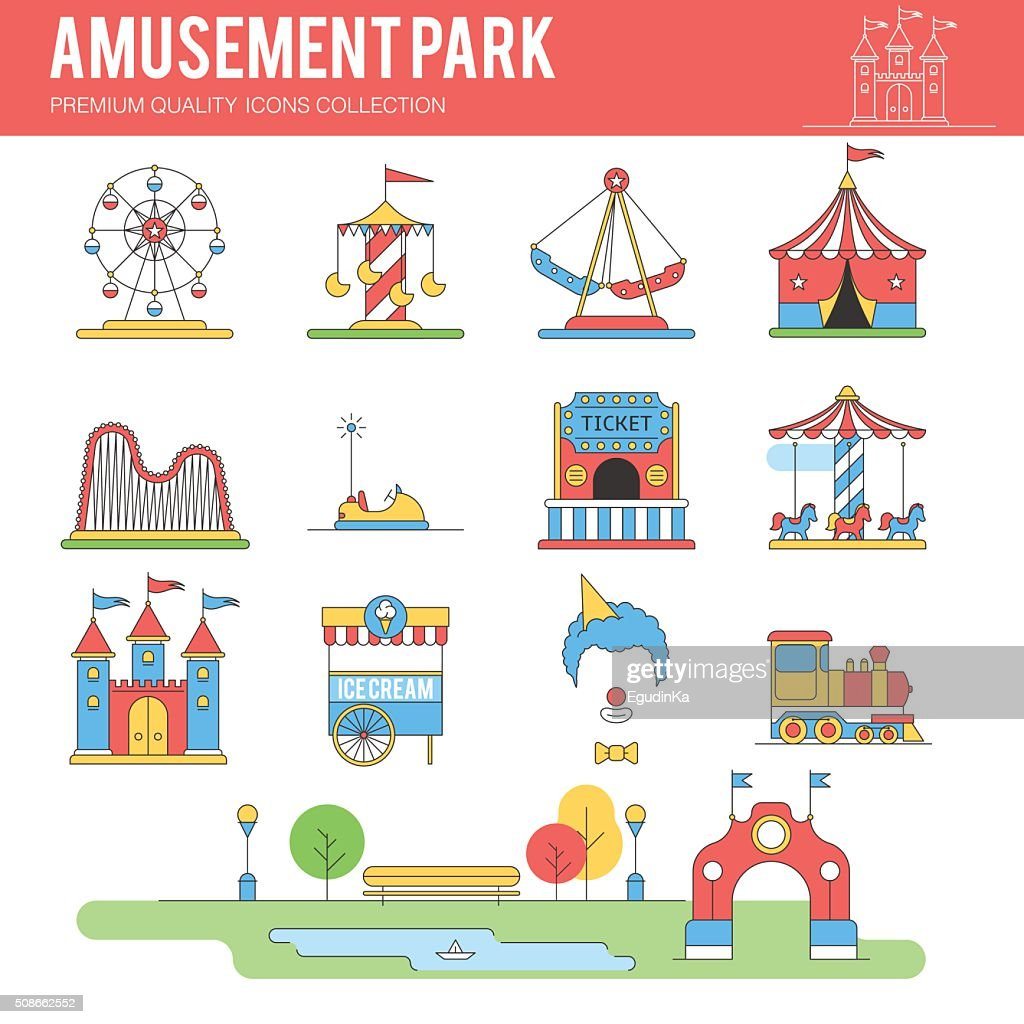 Carnival in amusement park. Icon set