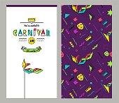 Carnival invitation cards in 80s style.