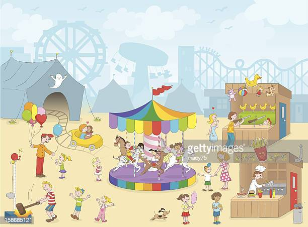 carnival kids fun scene - carnival ride stock illustrations, clip art, cartoons, & icons