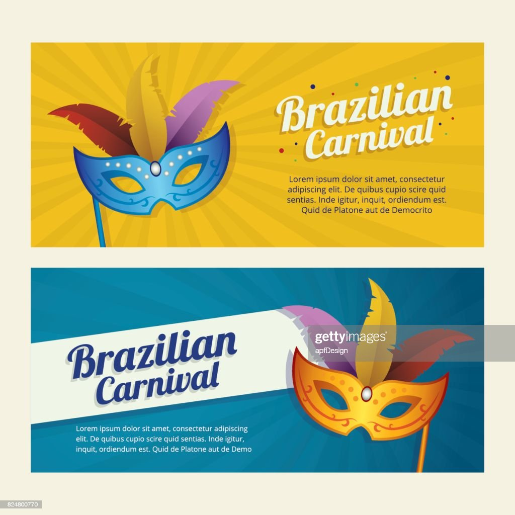 Carnival Mardi Gras background invitation flyers with Mask
