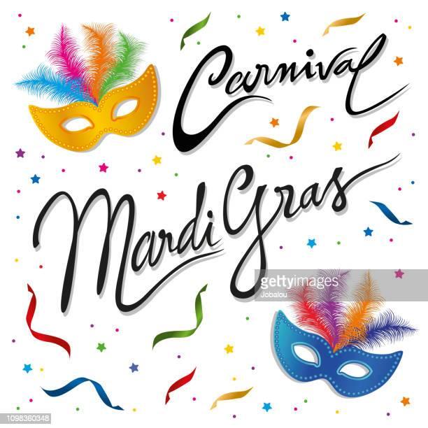 ilustrações de stock, clip art, desenhos animados e ícones de carnival mardi gras clip art card - carnaval