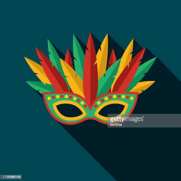 illustrazioni stock, clip art, cartoni animati e icone di tendenza di carnival mask brazil icon - maschere carnevale
