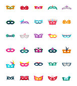 Carnival Mask Flat Vector Icons