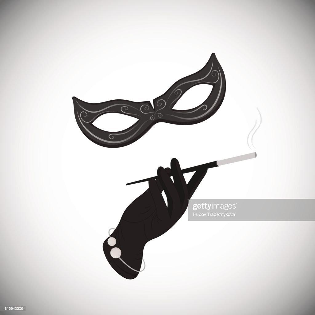 Carnival mask. Hand. Cigarette in the mouthpiece.