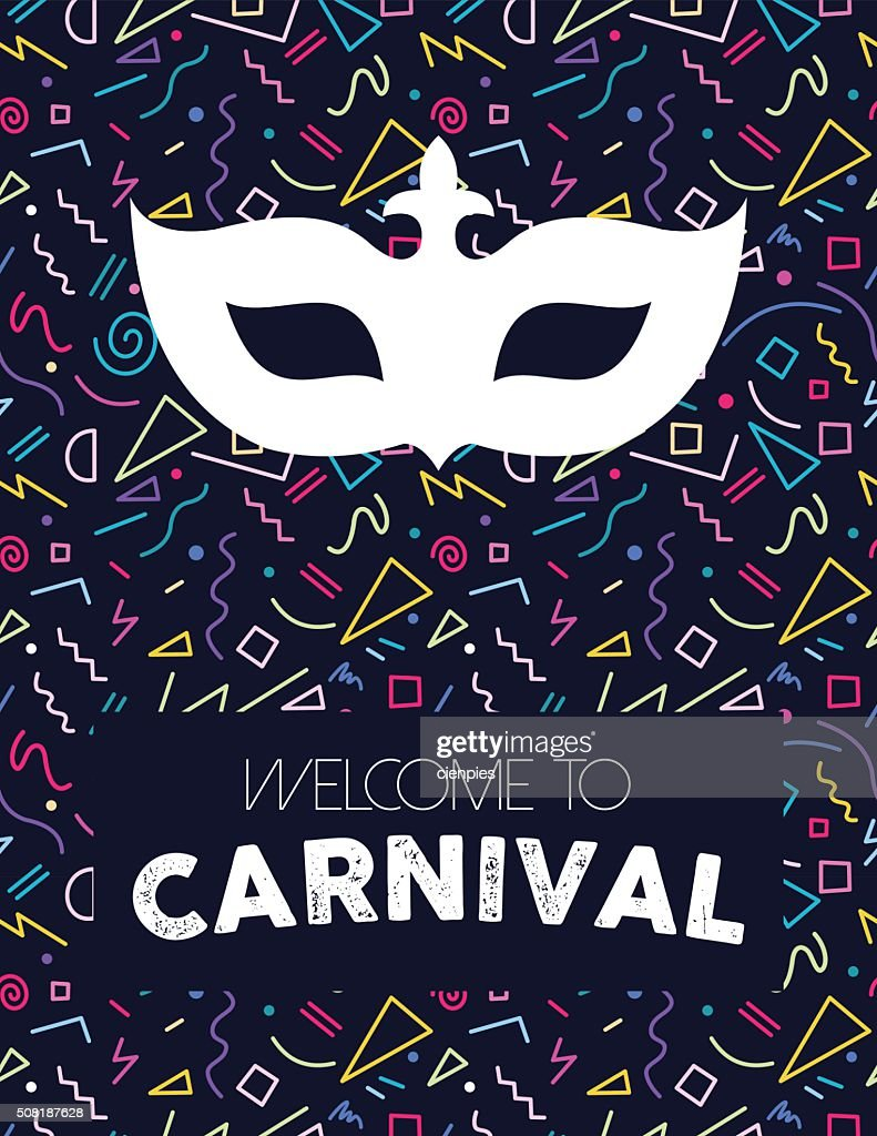 Carnival mask on colorful retro background