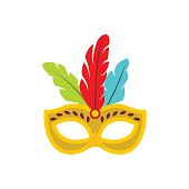 Carnival mask with feathers icon, flat style