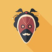 Carnival mask with mustache flat square icon with long shadows.